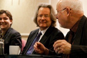 With A C Grayling and Kelvin Hopkins at the breakfast