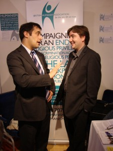 Chatting with Evan Harris at the BHA stall